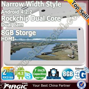 Original de la tableta pc de 7 pulgadas núcleo dual de doble cámara androide rk3168 4.2.2 con largo tiempo de espera