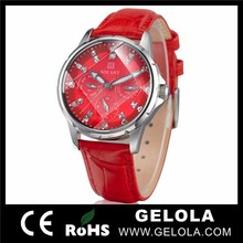 Alibaba fashion watches women for red leather , Japan quartz wrist watch for women