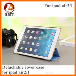 Detachable tri folded cover case for ipad air 2 / PU leather case cover with auto sleep