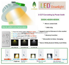 cct change color led downlight dimmable,three color temperature in one downlight changeable