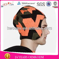 Custom Grey and White color 100% Cotton Winter Style 2014 Fashion Knitted Snowboard Hat