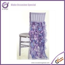 D254 fancy decoration organza purple cheap wedding chair sash