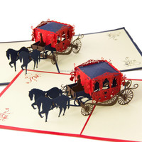 creative laser cut 3D carriage paper silhouette wedding invitation cards greeting card