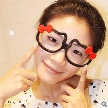 500 ewhxyj Hello kitty cat stud cat eye frame glasses frame KT female models bow most adorable cat glasses