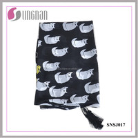 2016 Creative Fashion Women Cute Black and White Cat Imitated Silk Scarf