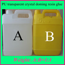 High quality transparent liquid AB doming PU resin glue crystal adhesive for breastpiece name tag plastic trademark