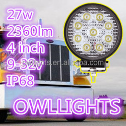 27w off road car accessories 27w led truck light go karts auto parts small round 4 inch 27w led work light for suv utv atv boat