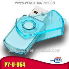 Business advertising USB swivel , transparent usb flash drive, Swivel USB stick(PY-U-064)