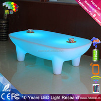 RGB led furniture interactive led bar table with glass