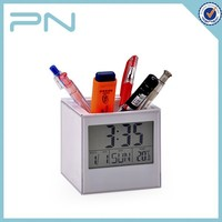 Customized led digital table clock display with Pen Holder for Business
