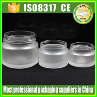 50g cosmetic glass packing clear jar, 30 ml and 50 ml amber glass cosmetic cream jar