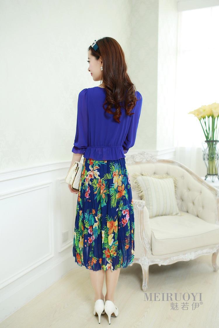 новые летние моды новые пастырское богемной цветочные шифона длинные платья на каждый день Женская одежда
