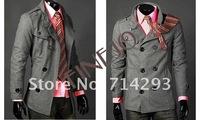 2012 Hot Men's Jackets Double Breasted Coat LiLing Badges Dust Coat FJ-3300