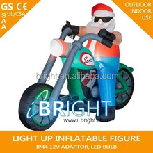 "Santa Claus on Motorcycle with Snowman in Sideca/"" North Pole Rider "" 7 ' Foot / Feet Long/Christmas Airblown Inflatable"