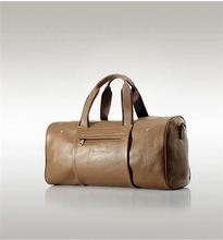 Simple Style Embossed Brand Logo High Quality Genuine Leather Duffle Travel Bag Luggage Bag