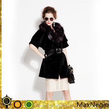 stylish belted classic faux fur coat women 1-37505
