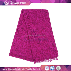 High Quality Nylon Rayon Cotton Rose Red African dry lace fabric wholesale with tricot style