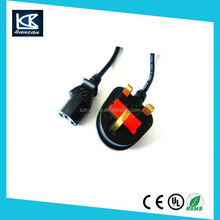 Kuncan Electronics home appliances 10A 250V UK Male to IEC 320 C7 power lead for LCD LED TV, figure 8 cord 2m