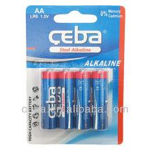 alkaline zn-mn battery aa lr6 alkaline battery 1.5v dry cell battery for radio