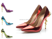 Copper Red Patent Leather Snake Heels Pointed Toe High Heel Pumps Wholesale Women Shoes Animal Heels