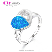 925 Sterling Silver Half Heart Cheap Finger Rings With Blue Opal