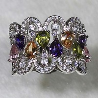NYR126 STYLISH!!! Platinum Plated Colored Zircon Band Ring with CZ Size 6#/7#/8#/9#Available
