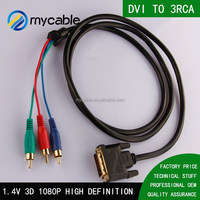 HD 24K plated Connector DVI to 3RCA Cable