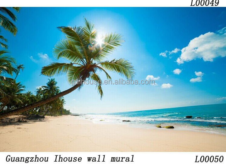 beautiful natural seascape designs glitter plastic wall wall mural plastic waterproof tarpaulin with rope