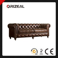 ORIZEAL CHESTERFIELD STYLE KENSINGTON GENUINE LEATHER SOFA WITH GENTLEMEN'S CLUB TRADITION (OZ-LS-2029)