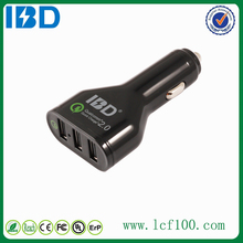 IBD three usb 7.2Amp 36 watt universal fast car charger high quality QC 2.0 Samrt auto charger with Led lighting