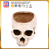 polyresin Human Skull Flower Pot Resin Craft Halloween Props White life size DIY Succulent Plants Potted for decoration