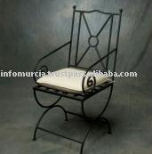 El reproducción Artesano hechos a mano silla en hierro forjado, Pintado a mano en negro o marrón