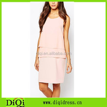 Tiered design semi-sheer chiffon scoop neck pink shift women one-piece midi dress
