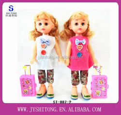 2015 Popular 12 Inches Little Girl Doll Models Big Girl Dolls with Suitcase