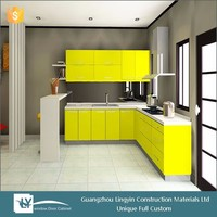 Russia mable solid wood prefab kitchen cabinet vinyl wrap
