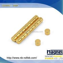 Permanent Short Small Cylinder Cheap Neodymium Magnet Gold Nickel Finish