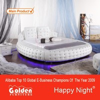 2015 Latest design king size white color round bed prices cheap for sale 6821