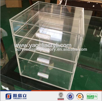 clear cheap 6 drawer acrylic makeup organizer with drawers clear box cosmetic box with handle wholesale