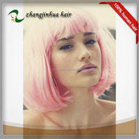 very beautiful factory price cosplay pink wigs bob full lace wig
