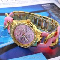 2015 hot fashion rose gold bracelet geneva chrono diamond watch lady dressing watch