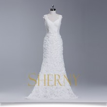 China Sherny Bridals cheap Pearl White guipure lace Wedding Dress, see through sleeveless wedding party dress for sale