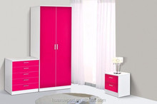 HUAXU Red Color High Gloss Bedroom Furniture Range