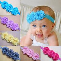 Colorful Newborn Infant Baby Elastic Shabby Flower Headband for Kids