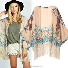 SF1015 2015 Summer Style Blusas New European Fringed Hem Tassel Women Blouses Floral Printed Pink Oversized Cape Kimono Cardigan