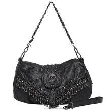 3D Skull Studded Fringe Beads Lambskin Leather Shoulder Handbag Purse Black