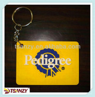 Customized cheap 2D logo PVC plastic rubber keychains