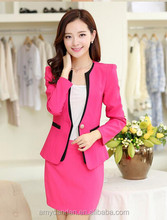 women fashionable V-neck contrast color matching workwear skirt business suit