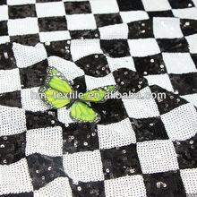 Black & White Checker 3mm sequin embroidered fabric