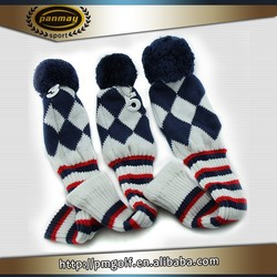 OEM custom knitted golf head cover for golf diver and fairway wood