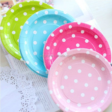 colorful dots paper plate for wedding and party